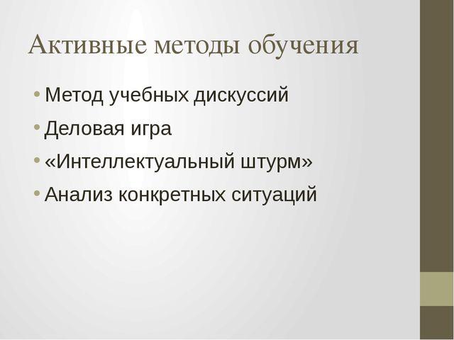 Активные методы обучения Метод учебных дискуссий Деловая игра «Интеллектуальн...
