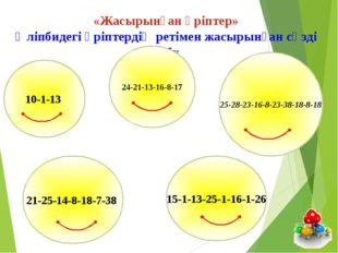 «Жасырынған әріптер» Әліпбидегі әріптердің ретімен жасырынған сөзді табу 21-2