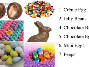 1. Crème Egg 2. Jelly Beans 4. Chocolate Bunny 5. Chocolate Eggs 6. Mini Eggs