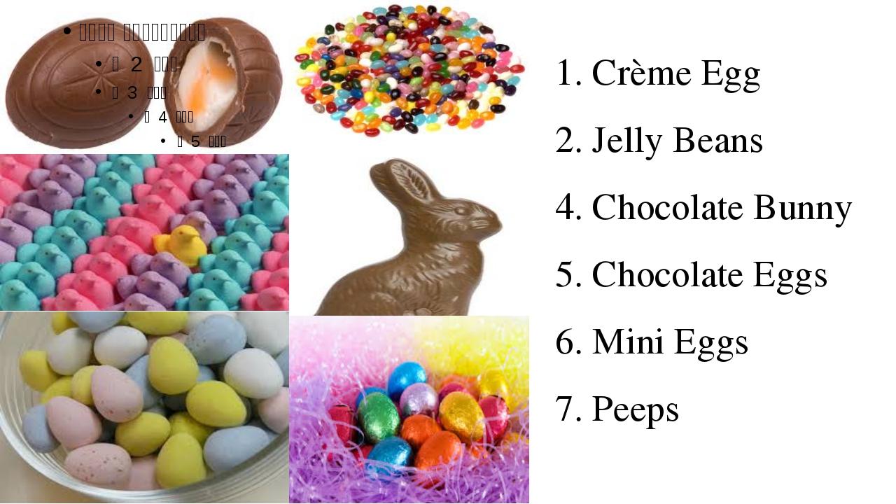 1. Crème Egg 2. Jelly Beans 4. Chocolate Bunny 5. Chocolate Eggs 6. Mini Eggs...
