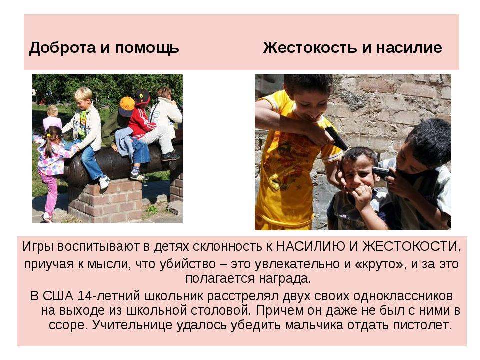 Доброта и помощь Жестокость и насилие Игры воспитывают в детях склонность к Н...
