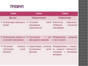 ТРКМЧП 1 фаза 2 фаза 3 фаза Вызов Осмысление Рефлексия Актуализацияимеющихся