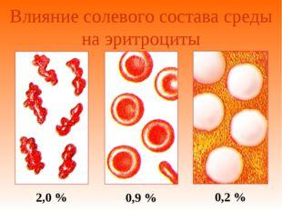 Влияние солевого состава среды на эритроциты 2,0 % 0,9 % 0,2 %