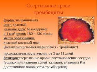 Свертывание крови форма: неправильная цвет: красный наличие ядра: безъядерные