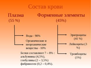 Состав крови Плазма (55 %) Форменные элементы (45%) Вода - 90% Органические и