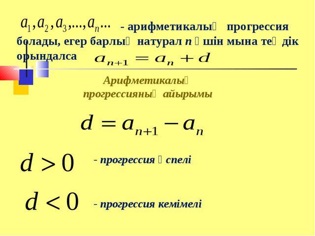 - арифметикалық прогрессия болады, егер барлық натурал n үшін мына теңдік ор...