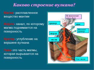 Магма- расплавленное вещество мантии Жерло- канал, по которому магма поднимае