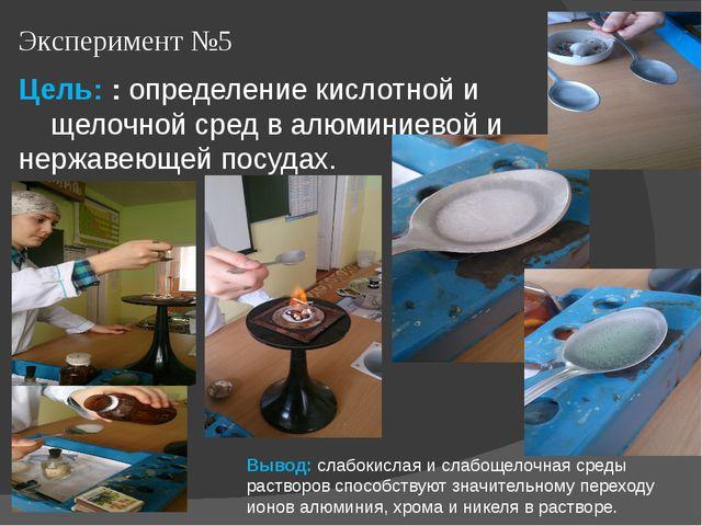 Эксперимент №5 Цель: : определение кислотной и щелочной сред в алюминиевой и...