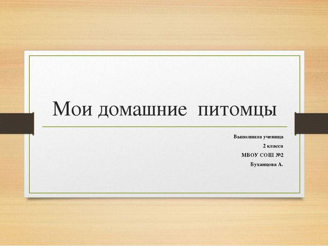 Мои домашние питомцы Выполнила ученица 2 класса МБОУ СОШ №2 Буханцова А.