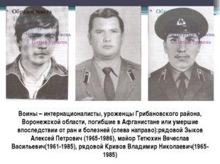 Воины – интернационалисты, уроженцы Грибановского района, Воронежской области