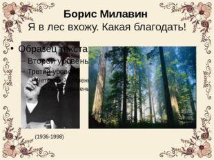 Борис Милавин Я в лес вхожу. Какая благодать! (1936-1998)