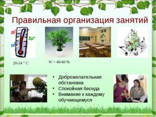 Правильная организация занятий Доброжелательная обстановка Спокойная беседа В