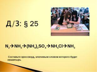 N2NH3(NH4)2SO4NH4ClNH3 Cоставьте кроссворд, ключевым словом которого буде