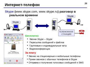 * Интернет-телефон Skype (www.skype.com, www.skype.ru) разговор в реальном вр