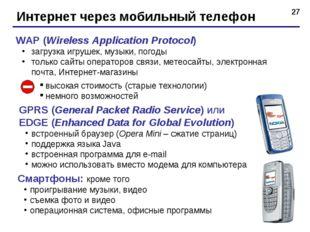 * Интернет через мобильный телефон WAP (Wireless Application Protocol) загруз