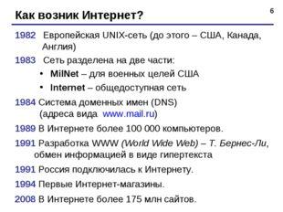 * Как возник Интернет? 1982 Европейская UNIX-сеть (до этого – США, Канада, А
