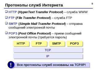 * Протоколы служб Интернета HTTP (HyperText Transfer Protocol) – служба WWW F