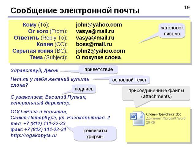 * Сообщение электронной почты john@yahoo.com vasya@mail.ru vasya@mail.r...