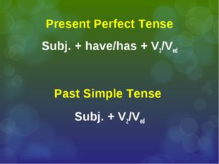 Present Perfect Tense Subj. + have/has + V3/Ved Past Simple Tense Subj. + V2/