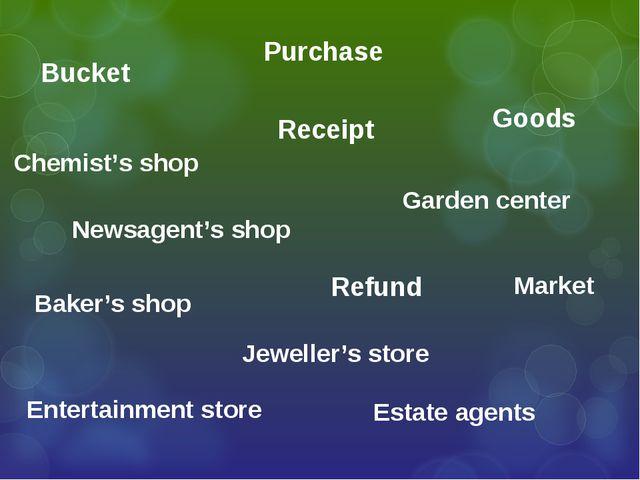 Market Garden center Chemist's shop Entertainment store Baker's shop Estate a...