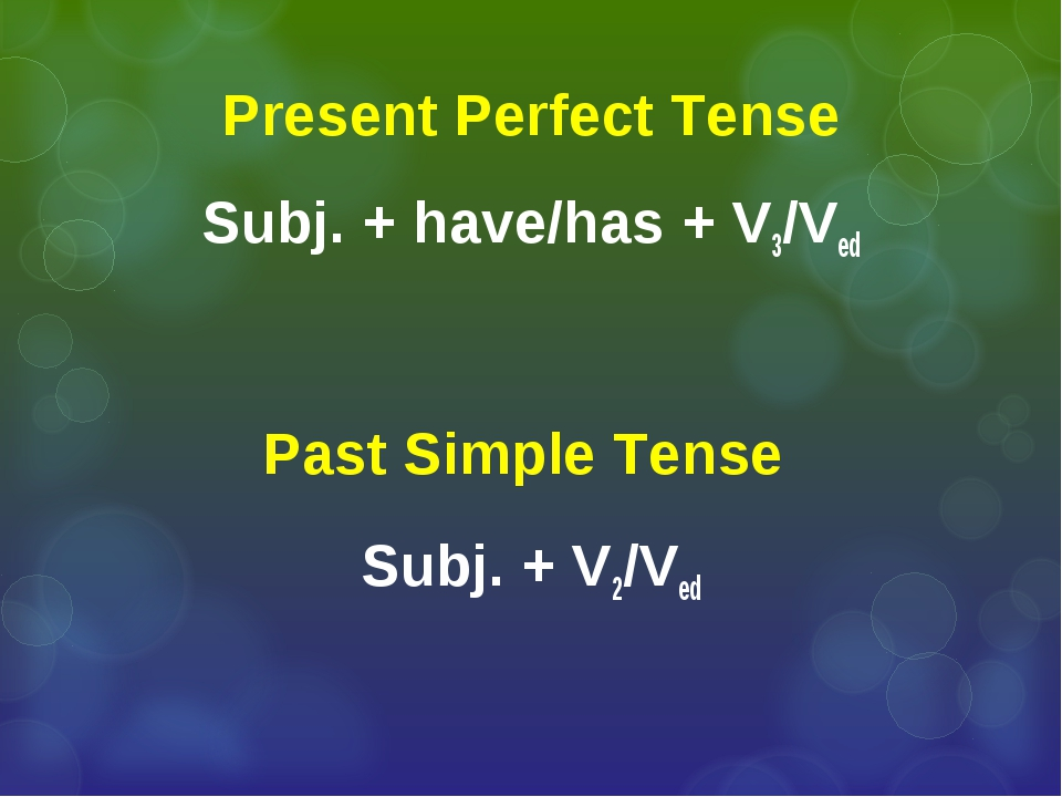 Present Perfect Tense Subj. + have/has + V3/Ved Past Simple Tense Subj. + V2/...
