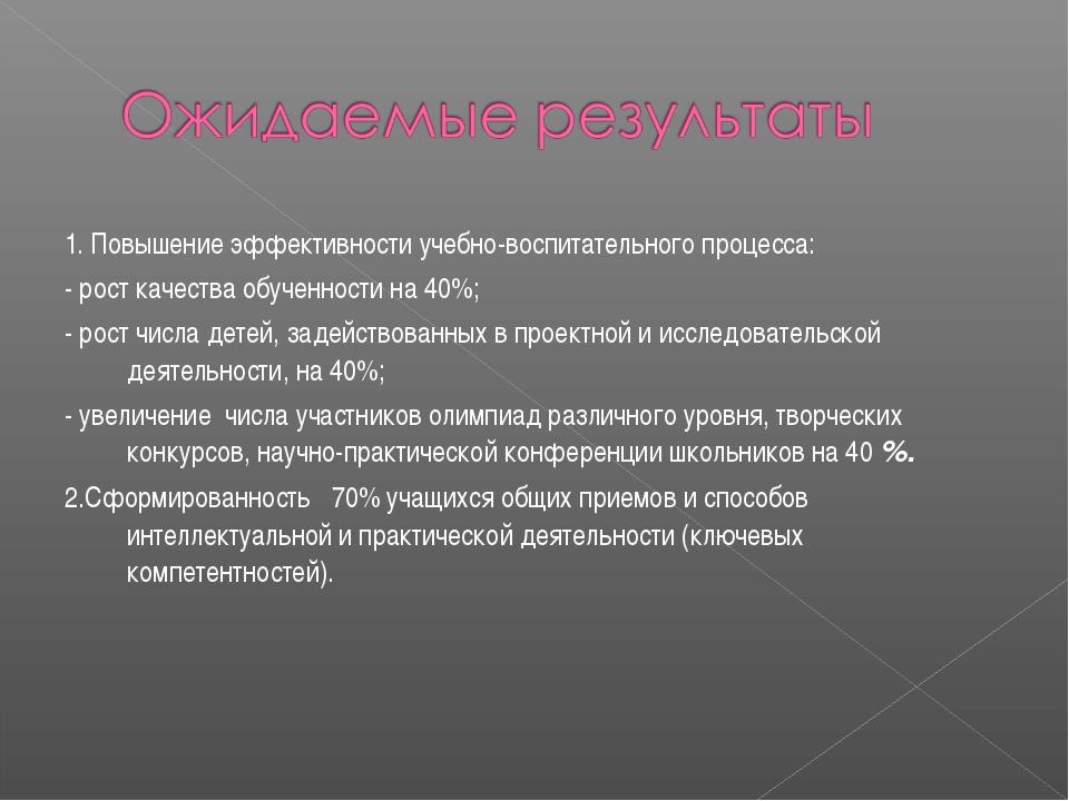 1. Повышение эффективности учебно-воспитательного процесса: - рост качества о...