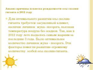 Анализ причины всплеска рождаемости осы сколии-гиганта в 2012 году Для оптима