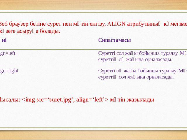Веб браузер бетіне сурет пен мәтін енгізу, ALIGN атрибутының көмегімен жүзеге...
