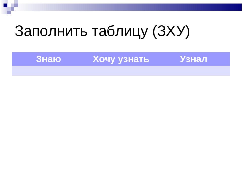 Заполнить таблицу (ЗХУ) ЗнаюХочу узнатьУзнал
