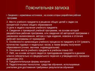 Пояснительная записка 1. Сведения о нормативных источниках , на основе которы