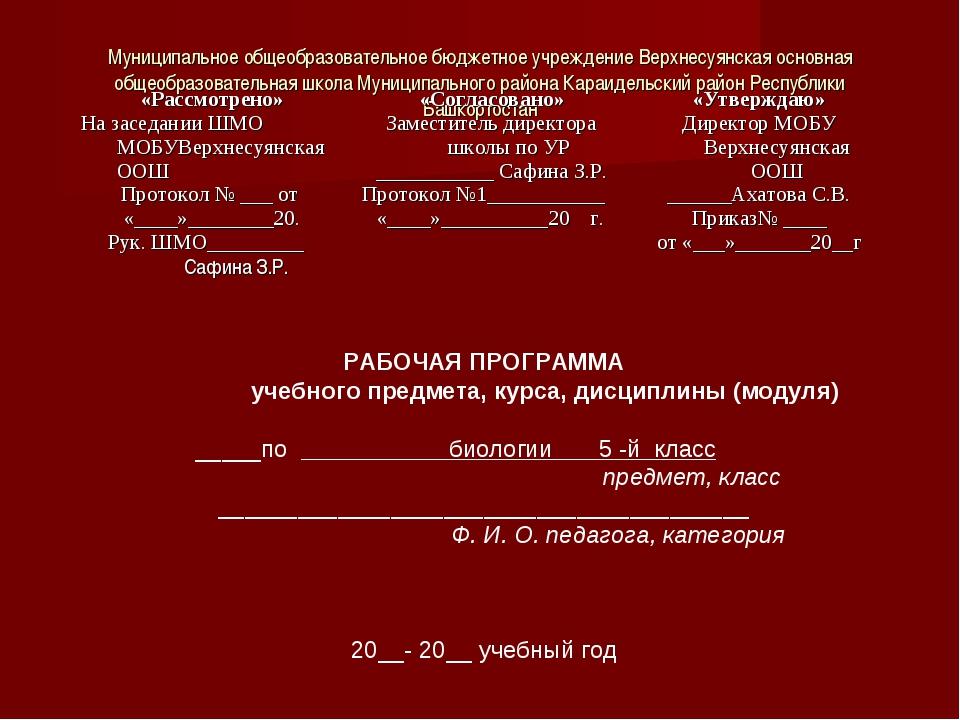 Муниципальное общеобразовательное бюджетное учреждение Верхнесуянская основна...