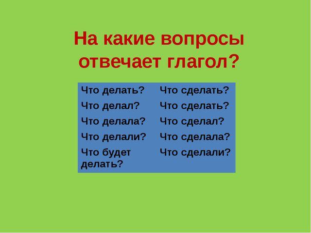 На какие вопросы отвечает глагол? Что делать? Что сделать? Что делал? Что сде...
