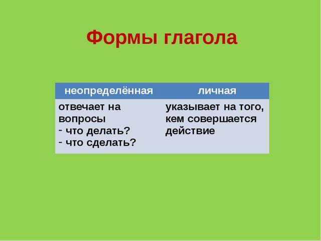 Формы глагола неопределённая личная отвечает на вопросы что делать? что сдела...