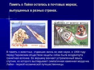 Память о Лайке осталась в почтовых марках, выпущенных в разных странах. В пам