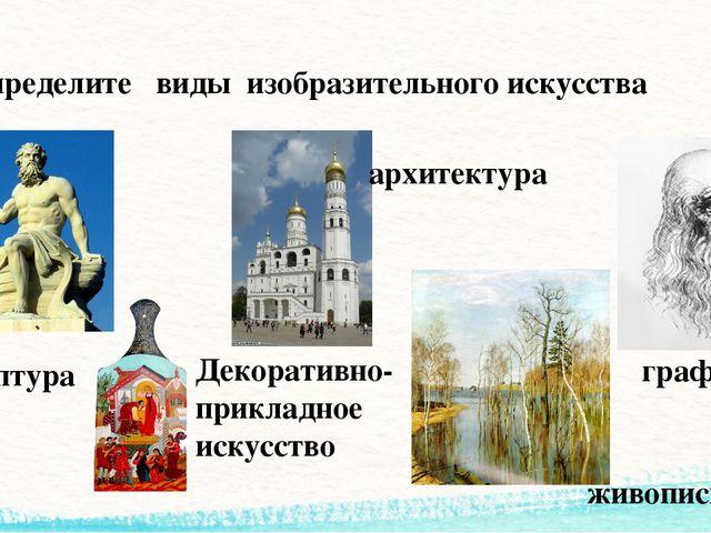 Определите виды изобразительного искусства графика живопись архитектура Декор...