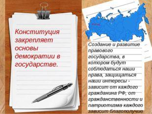 Конституция закрепляет основы демократии в государстве. Создание и развитие