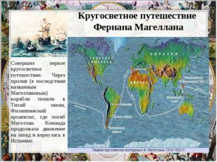 Кругосветное путешествие Фернана Магеллана Совершил первое кругосветное путе