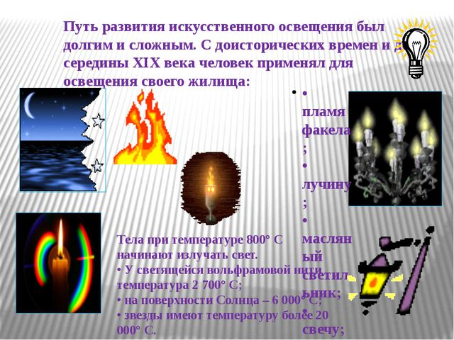 Путь развития искусственного освещения был долгим и сложным. С доисторических...