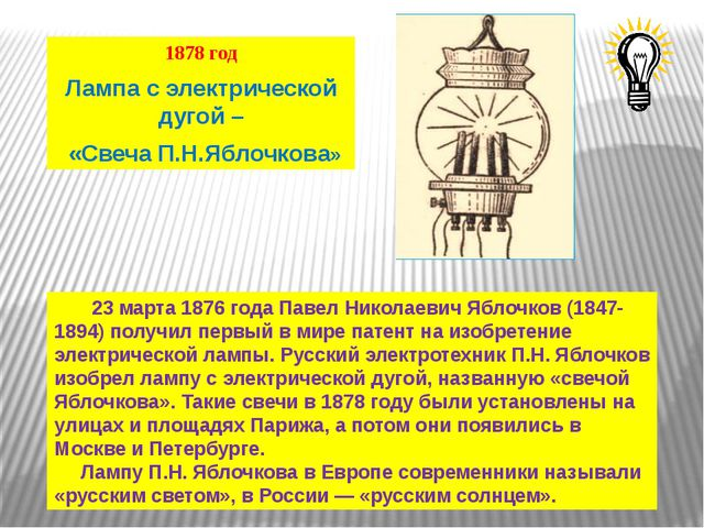 1878 год Лампа с электрической дугой – «Свеча П.Н.Яблочкова» 23 марта 1876 го...
