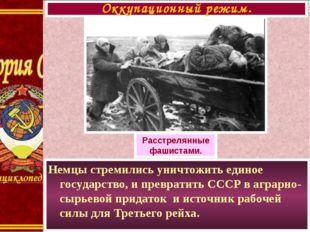 Немцы стремились уничтожить единое государство, и превратить СССР в аграрно-с