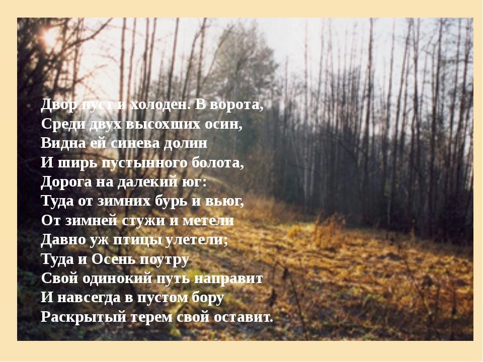 Двор пуст и холоден. В ворота, Среди двух высохших осин, Видна ей синева доли...