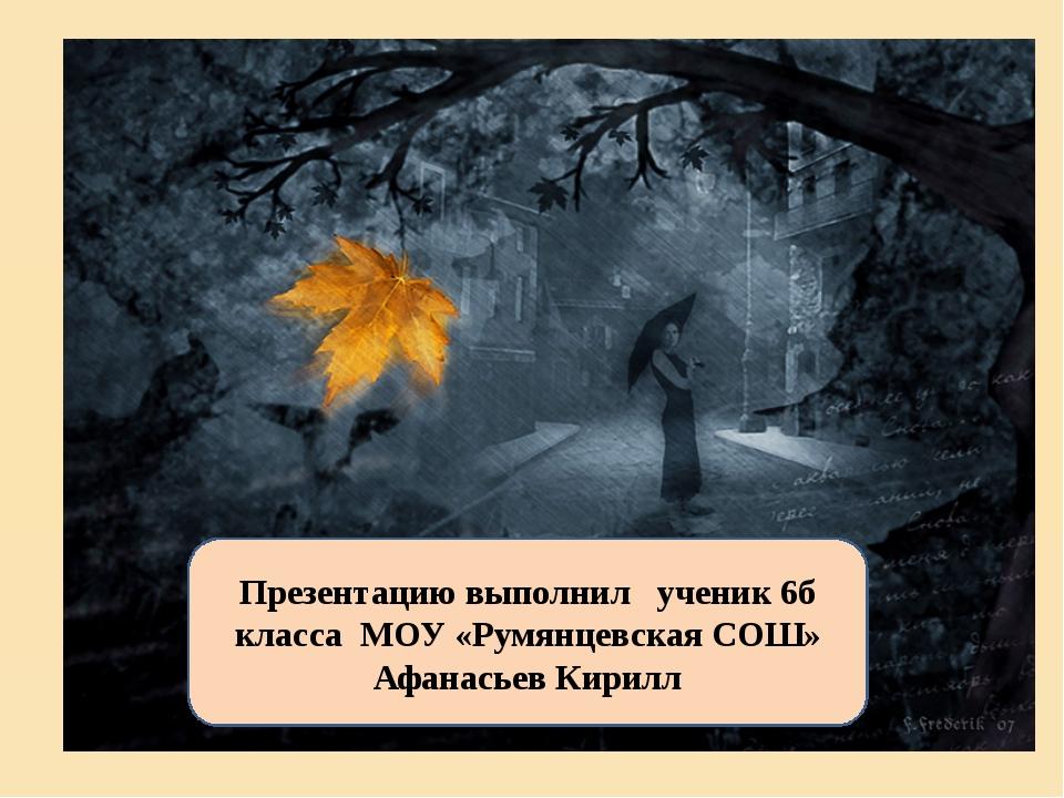 Презентацию выполнил ученик 6б класса МОУ «Румянцевская СОШ» Афанасьев Кирилл
