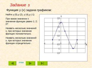 Функция y (x) задана графиком: Найти y (0),y (2), y (4),y (-1) При каком знач
