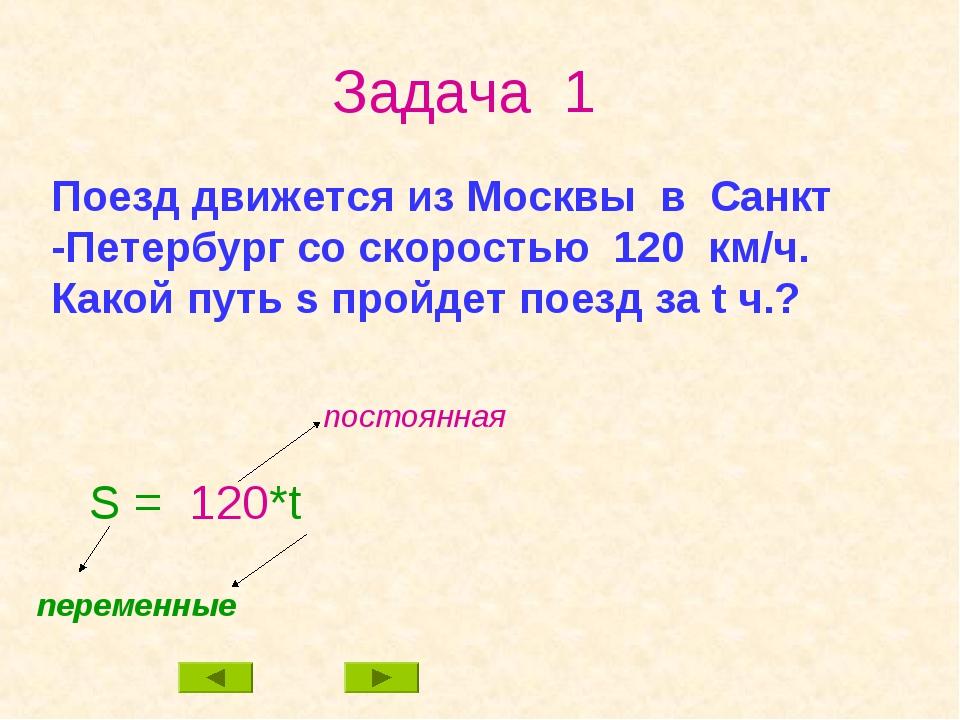 Задача 1 Поезд движется из Москвы в Санкт -Петербург со скоростью 120 км/ч. К...
