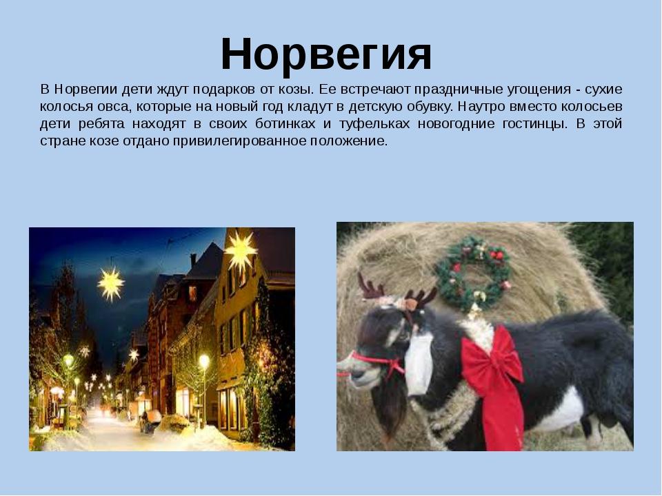 Норвегия В Норвегии дети ждут подарков от козы. Ее встречают праздничные угощ...