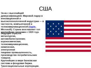 США Эк-ка с высочайшей диверсификацией. Мировой лидер в инновационной и высок