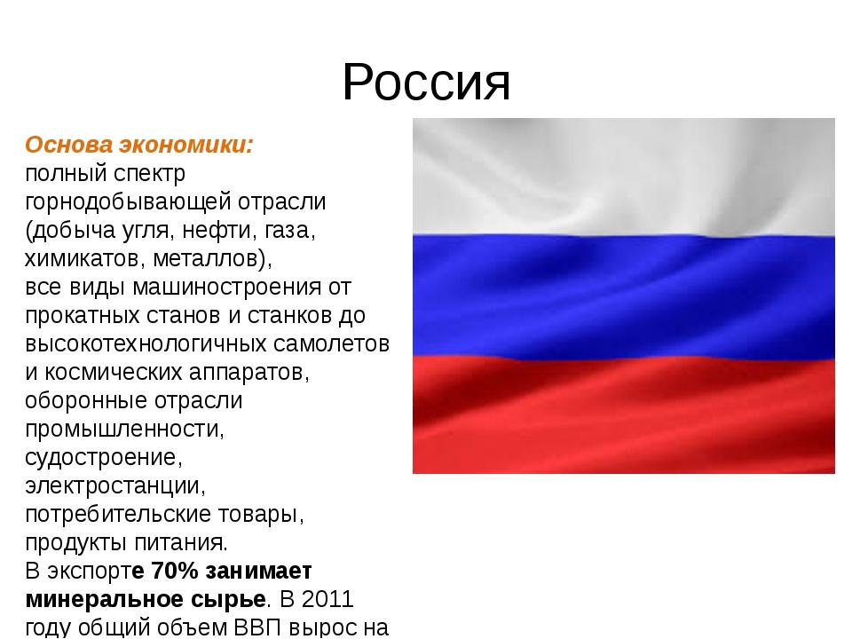 Россия Основа экономики: полный спектр горнодобывающей отрасли (добыча угля,...