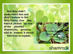shamrock But they didn't understand him and didn't believe in the Holy Tr