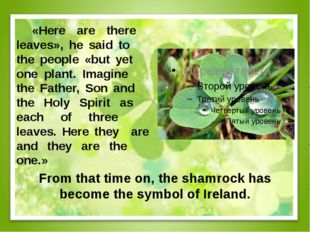From that time on, the shamrock has become the symbol of Ireland. «Here are