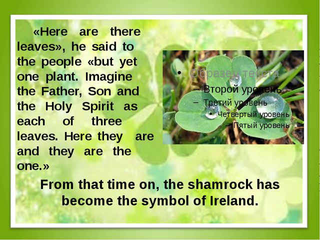 From that time on, the shamrock has become the symbol of Ireland. «Here are...